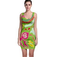Green Organic Abstract Bodycon Dress by DanaeStudio