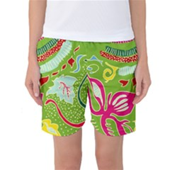 Green Organic Abstract Women s Basketball Shorts by DanaeStudio