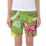 Green Organic Abstract Women s Basketball Shorts