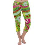 Green Organic Abstract Capri Yoga Leggings