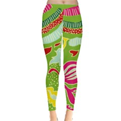 Green Organic Abstract Leggings  by DanaeStudio