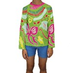 Green Organic Abstract Kids  Long Sleeve Swimwear