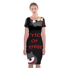 Trick Or Treat   Owls Classic Short Sleeve Midi Dress by Valentinaart