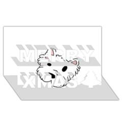 Westie Cartoon Head Merry Xmas 3D Greeting Card (8x4) by TailWags