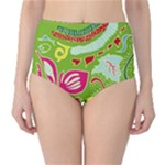 Green Organic Abstract High-Waist Bikini Bottoms
