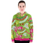 Green Organic Abstract Women s Zipper Hoodie
