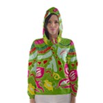 Green Organic Abstract Hooded Wind Breaker (Women)