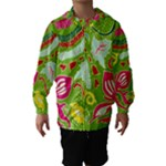 Green Organic Abstract Hooded Wind Breaker (Kids)