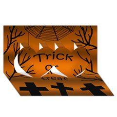 Trick or treat - cemetery  Twin Hearts 3D Greeting Card (8x4)