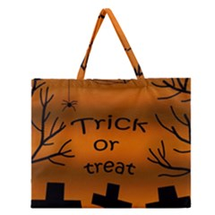 Trick Or Treat   Cemetery  Zipper Large Tote Bag by Valentinaart