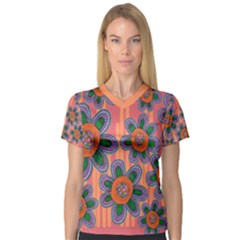 Colorful Floral Dream Women s V Neck Sport Mesh Tee by DanaeStudio