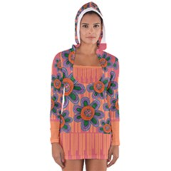 Colorful Floral Dream Women s Long Sleeve Hooded T Shirt by DanaeStudio