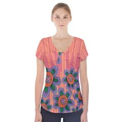 Colorful Floral Dream Short Sleeve Front Detail Top by DanaeStudio