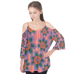 Colorful Floral Dream Flutter Sleeve Tee  by DanaeStudio