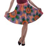 Colorful Floral Dream A-line Skater Skirt