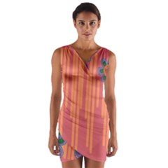 Colorful Floral Dream Wrap Front Bodycon Dress by DanaeStudio