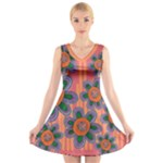 Colorful Floral Dream V-Neck Sleeveless Dress