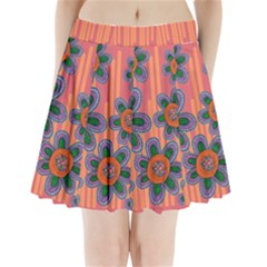 Colorful Floral Dream Pleated Mini Skirt by DanaeStudio