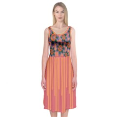 Colorful Floral Dream Midi Sleeveless Dress by DanaeStudio
