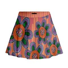 Colorful Floral Dream Mini Flare Skirt by DanaeStudio