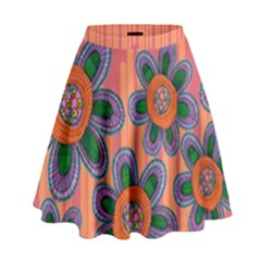 Colorful Floral Dream High Waist Skirt by DanaeStudio