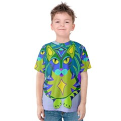 Peacock Tabby Kids  Cotton Tee by jbyrdyoga