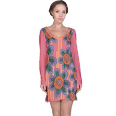 Colorful Floral Dream Long Sleeve Nightdress by DanaeStudio