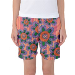 Colorful Floral Dream Women s Basketball Shorts by DanaeStudio