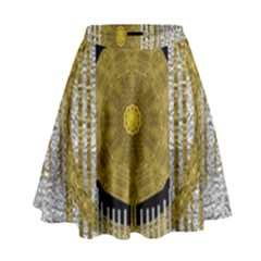 Silver And Gold Is The Way To Luck High Waist Skirt by pepitasart