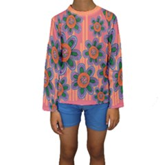 Colorful Floral Dream Kids  Long Sleeve Swimwear by DanaeStudio