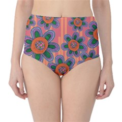 Colorful Floral Dream High Waist Bikini Bottoms by DanaeStudio