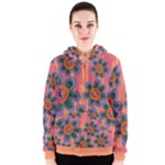 Colorful Floral Dream Women s Zipper Hoodie