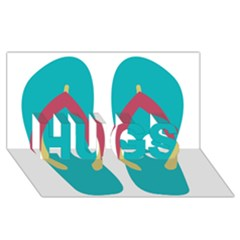 Flip Flop Slippers Copy Hugs 3d Greeting Card (8x4) by AnjaniArt