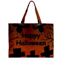 Happy Halloween   Bats On The Cemetery Zipper Mini Tote Bag by Valentinaart