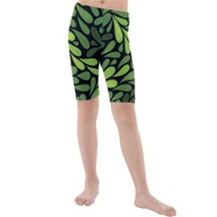 Free Green Nature Leaves Seamless Kids  Mid Length Swim Shorts by AnjaniArt