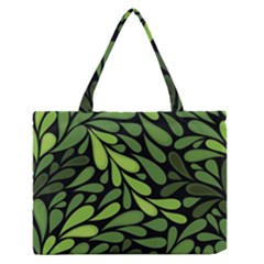 Free Green Nature Leaves Seamless Medium Zipper Tote Bag by AnjaniArt