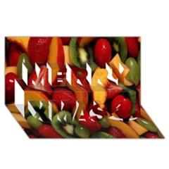 Fruit Salad Merry Xmas 3d Greeting Card (8x4) by AnjaniArt