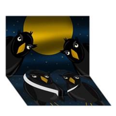 Halloween   Black Crow Flock Heart Bottom 3d Greeting Card (7x5) by Valentinaart