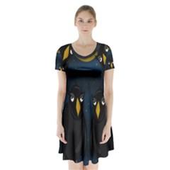 Halloween - black crow flock Short Sleeve V-neck Flare Dress by Valentinaart
