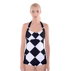 black white Boyleg Halter Swimsuit  by Aanygraphic