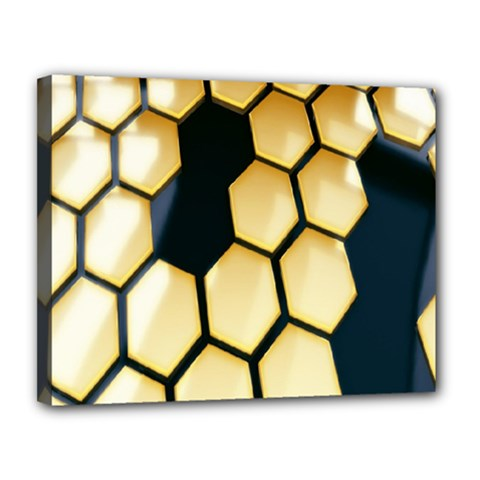 Honeycomb Yellow Rendering Ultra Canvas 14  X 11  by AnjaniArt
