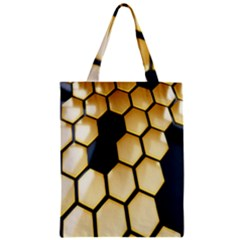 Honeycomb Yellow Rendering Ultra Zipper Classic Tote Bag by AnjaniArt