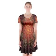 Floral Kaleidoscope Short Sleeve V-neck Flare Dress by Mugomugo