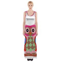 Owl Colorful Patchwork Art Maxi Thigh Split Dress by Zeze