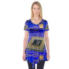 Processor Cpu Board Circuits Short Sleeve Tunic  by Zeze