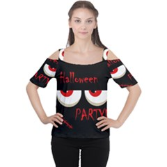 Halloween Party   Red Eyes Monster Women s Cutout Shoulder Tee by Valentinaart