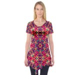 Folk Floral Geometric Pattern Short Sleeve Tunic