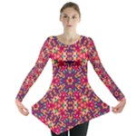 Folk Floral Geometric Pattern Long Sleeve Tunic