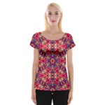 Folk Floral Geometric Pattern Women s Cap Sleeve Top