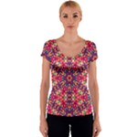 Folk Floral Geometric Pattern Women s V-Neck Cap Sleeve Top